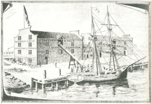 A.T. Andreas included this engraving of the first shipment of grain from the port of Chicago from Newberry & Cole's early elevator in 1839 in his three-volume history of Chicago. Improvements in grain handling and marketing soon made Chicago the primary grain exporting city in the Midwest.