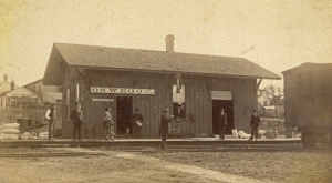 The Oswego Depot on the Ottawa, Oswego & Fox River Valley Rail Road about 1880 before it's expansion and remodeling in 1886 was similar to the small stations that dotted the rail line from Streator north to Aurora. (Little White School Museum photo)