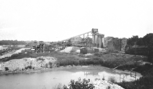 The sprawling H.D. Conkey Sand & Gravel Company mine supplied gravel for three decades. Part of the mine is now the site of the Oswegoland Park District's Saa Wee Kee Park. (Little White School Museum photo)