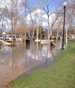 Hudson Crossing Park was mostly under water after this year's flood as the normally placid Fox River surged out of its banks.