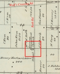 In 1861, the church and the cemetery were both moved west to adjoin Roth Road. In 1870, the church purchased a site at Roth and Wolf's Crossing roads, where they built a newer, larger church.